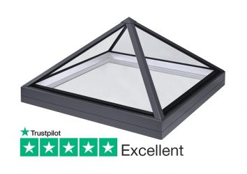SB40 slimline lantern pyramid rooflight for flat roofs