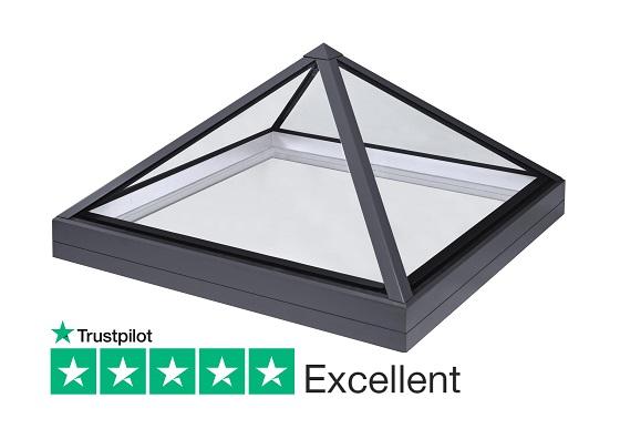 SB40 slimline lantern pyramid rooflight for flat roofs
