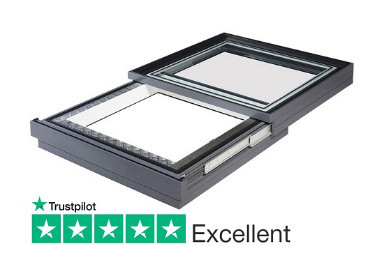electric retracting sliding rooflight for flat and pitched roofs