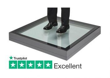 fixed flat flush glazed walk on rooflight for flat roofs