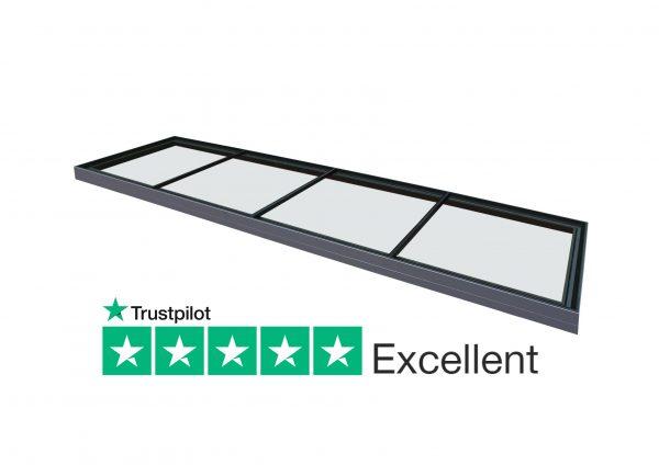 Duplus flush glazed fixed flat modular rooflight