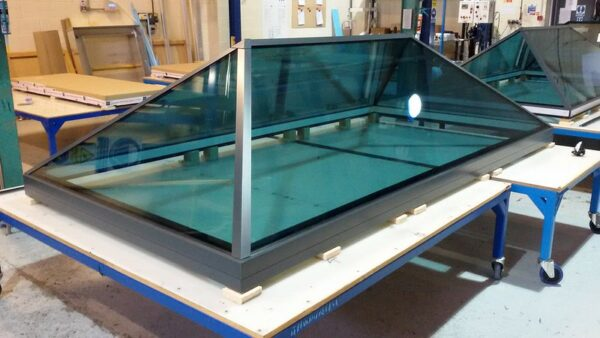 roof lantern with blue tinted glass